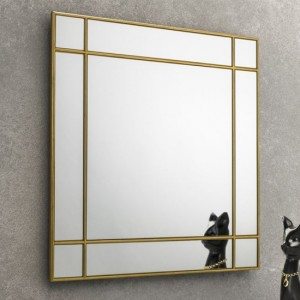 Fortissimo Square Wall Mirror In Gold Frame