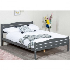 Foshan Wooden Small Double Bed In Grey