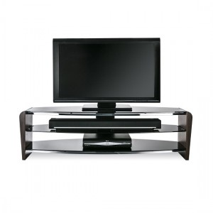 Francium Large Wooden TV Stand In Black With Black Glass