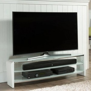 Francium Large Wooden TV Stand In Black With White Glass
