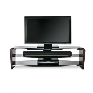 Francium Large Wooden TV Stand In Walnut With Black Glass