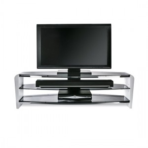 Francium Large Wooden TV Stand In White With Smoked Glass