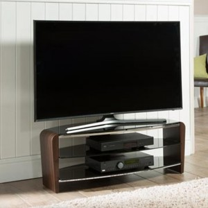Francium Medium Wooden TV Stand In Walnut With Black Glass