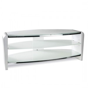 Francium Medium Wooden TV Stand In White With White Glass