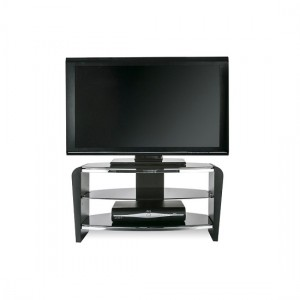 Francium Wooden TV Stand In Black With Black Glass