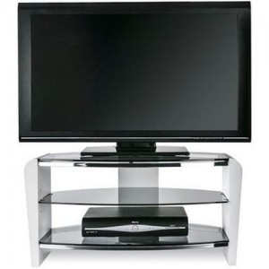 Francium Wooden TV Stand In Black With White Glass