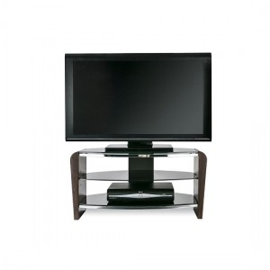 Francium Wooden TV Stand In Walnut With Black Glass
