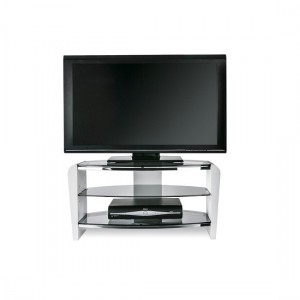 Francium Wooden TV Stand In White With Smoked Glass