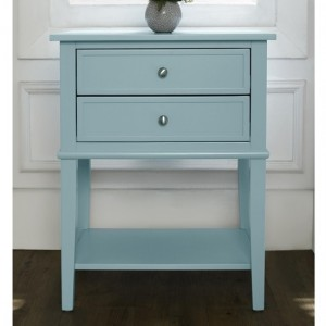 Franklin Wooden Bedside Table In Blue With 2 Drawers