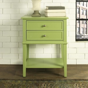 Franklin Wooden Bedside Table In Green With 2 Drawers