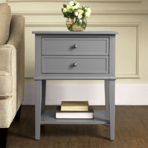 Franklin Wooden Bedside Table In Grey With 2 Drawers