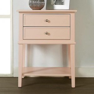 Franklin Wooden Bedside Table In Pink With 2 Drawers