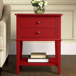 Franklin Wooden Bedside Table In Red With 2 Drawers