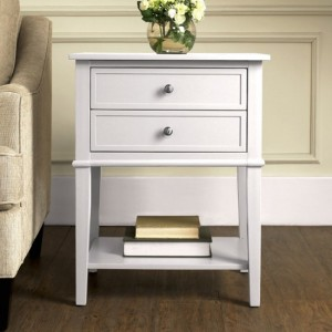 Franklin Wooden Bedside Table In White With 2 Drawers
