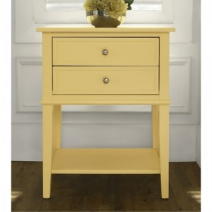 Franklin Wooden Bedside Table In Yellow With 2 Drawers