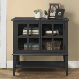Franklin Wooden Storage Cabinet In Black With 2 Doors