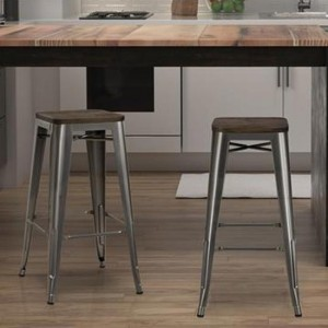Fusion Antique Gun Metal Backless Bar Stools In Pair With Wooden Seat