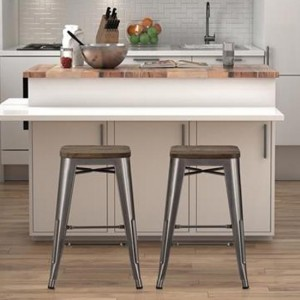 Fusion Antique Gun Metal Backless Counter Stools In Pair With Wooden Seat