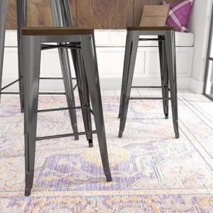 Fusion Black Metal Backless Bar Stools In Pair With Wooden Seat