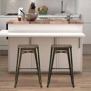 Fusion Bronze Metal Backless Counter Stools In Pair With Wooden Seat