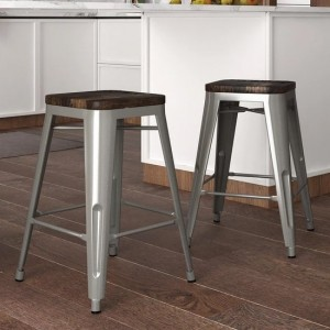 Fusion Silver Metal Counter Backless Stools In Silver