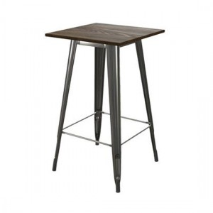 Fusion Square Wooden Bar Table In Antique Gun Metal
