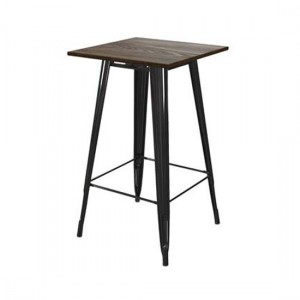 Fusion Square Wooden Bar Table In Black