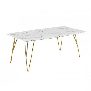 Fusion White Marble Coffee Table With Gold Metal Legs