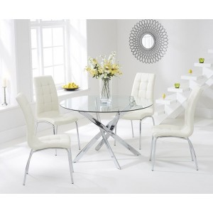 Panama Round Glass Dining Table With 4 Opal Cream Dining Chairs