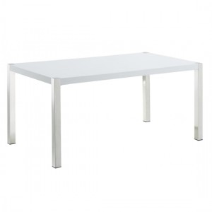 Gamma Wooden Coffee Table In White High Gloss With Metal Chrome Legs