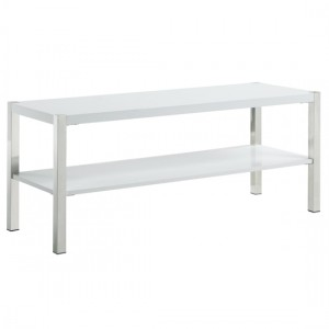 Gamma Wooden TV Stand In White High Gloss With Chrome Legs