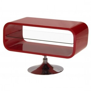 Garfield Wooden TV Stand In Red High Gloss With Stainless Steel Base