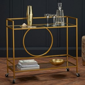 Gatsby Clear Glass Shelves Drinks Trolley In Gold