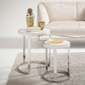 Gemma Marble Effect Top Nest Of Tables In Silver Base