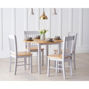 Gibson Extending 4 Seater Wooden Dining Table Set In Oak And Grey