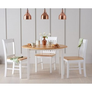 Gibson Extending 4 Seater Wooden Dining Table Set In Oak And White
