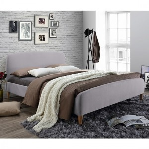 Geneva Fabric Upholstered Double Bed In Light Grey
