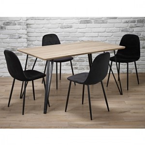 Genoa Wooden Dining Set In Oak With 4 Black Chairs