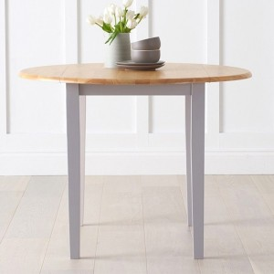 Genovia Drop Leaf Extending Dining Table In Oak And Grey