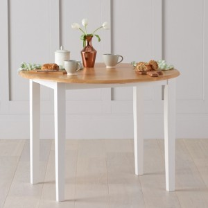 Genovia Drop Leaf Extending Dining Table In Oak And White