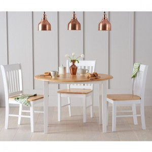 Genovia Extending Round Dining Set With 4 Chairs In Oak And White