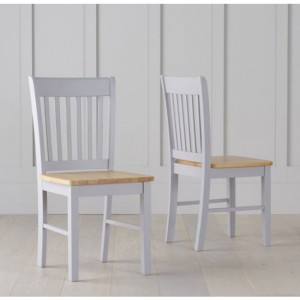 Genovia Oak And Grey Wooden Dining Chairs In Pair