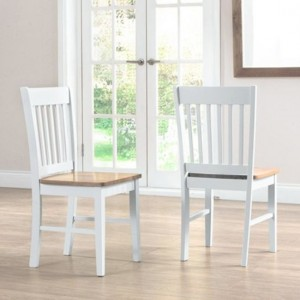 Genovia Oak And White Wooden Dining Chairs In Pair
