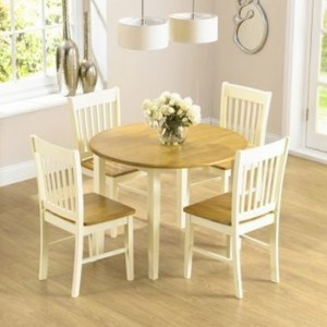 Genovia Round Wooden Dining Set With 4 Chairs In Oak And Cream