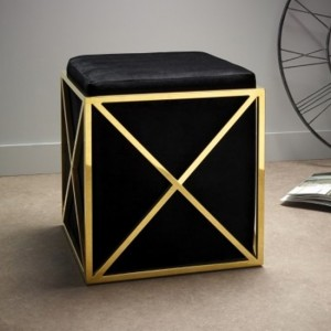 Georgia Black Velvet Stool With Polished Golden Base