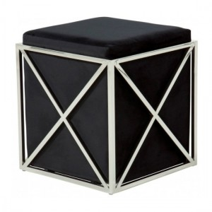 Georgia Black Velvet Stool With Polished Stainless Steel Base