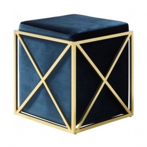 Georgia Blue Velvet Stool With Polished Golden Base