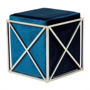 Georgia Blue Velvet Stool With Polished Stainless Steel Base