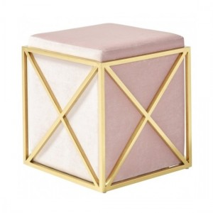 Georgia Pink Velvet Stool With Polished Golden Base