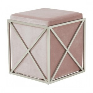 Georgia Pink Velvet Stool With Polished Stainless Steel Base